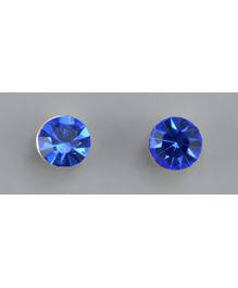 Angel Glitter- Midnight Blue Encircled CZ Solitaire Diamond Earrings