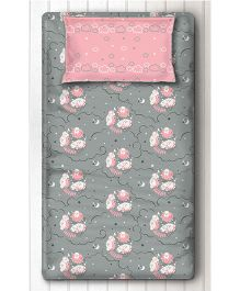 Silverlinen Single Bedsheet With One Pillow Cover Sheep Print - Grey Pink