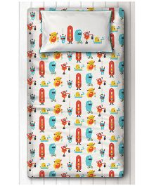 Silverlinen Single Bedsheet With One Pillow Cover Silly Monster Print - Red & Yellow