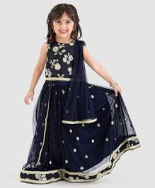 4c57f6ff4b Babyoye Sleeveless Choli With Lehenga & Dupatta Floral Design - Navy Blue