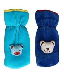 My NewBorn Velvet Bottle Cover Teddy Motif Upto 240 ml Pack of 2 - Blue
