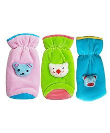 My NewBorn Velvet Bottle Cover Teddy Motif Up to 240 ml Pack of 3 - Blue Pink Green