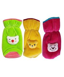 My NewBorn Velvet Bottle Cover Teddy Motif Up to 240 ml Pack of 3 - Green Yellow Fuchsia