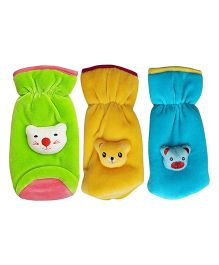 My NewBorn Velvet Bottle Cover Teddy Motif Up to 240 ml Pack of 3 - Blue Green Yellow