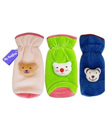 My NewBorn Velvet Bottle Cover Teddy Motif Up to 240 ml Pack of 3 - Pink Green Blue