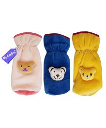 My NewBorn Velvet Bottle Cover Teddy Motif Up to 240 ml Pack of 3 - Blue Pink Yellow