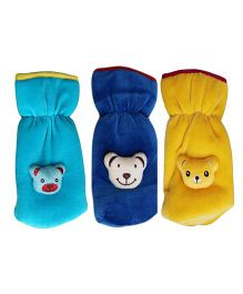 My NewBorn Velvet Bottle Cover Teddy Motif Up to 240 ml Pack of 3 - Blue Yellow