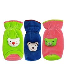 My NewBorn Velvet Bottle Cover Teddy Motif Upto 240 ml Pack of 3 - Green Blue Peach