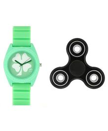 Fantasy World Floral Design Watch & Spinner Combo - Green & Black