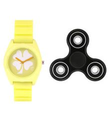 Fantasy World Floral Design Watch & Spinner Combo - Yellow & Black