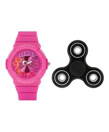 Fantasy World Watch & Spinner Combo - Pink & Black