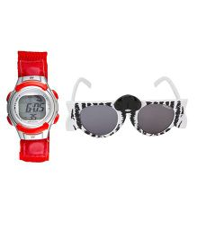 Fantasy World Watch & Sunglasses Combo - Red & Black