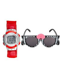 Fantasy World Watch & Sunglasses Combo - Red & White