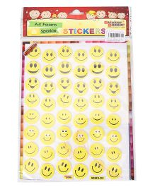 Sticker Bazaar A4 Sparkle Stickers Emoji Theme - Yellow