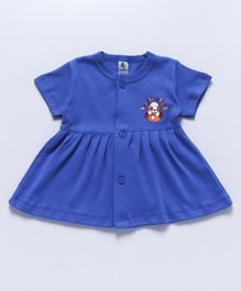Cucumber Short Sleeves Frock Puppy Print - Royal Blue