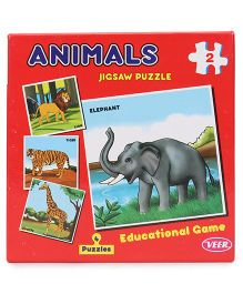 Veer Jigsaw Puzzle Animal Set of 4 - Red