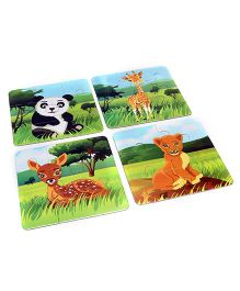 Veer Wild Animals Jigsaw Puzzle Set of 4 - Multicolour