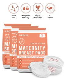 Sirona Premium Disposable Maternity Breast Pads Pack of 3 - 36 Pads Each