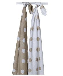 Lulujo Baby Cotton Swaddle Wrapper Polka Dots Print Pack of 2 - White Brown