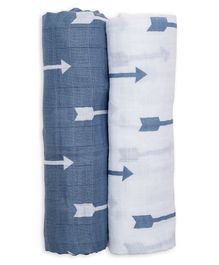 Lulujo Baby Cotton Muslin Swaddle Wrapper Arrows Print Pack of 2 - Blue