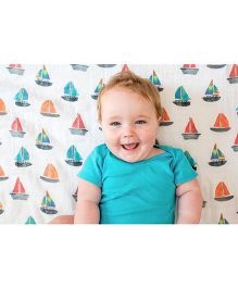 Lulujo Baby Cotton Muslin Swaddle Wrapper Boat Print - White Multicolou