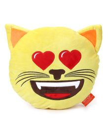 My Baby Excels Emoji Cat In Love Cushion Yellow - 30 cm