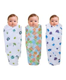 Wonder Wee Muslin Cotton Swaddle Wrappers Sea Animal Print Pack of 3 - Multicolor