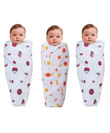 Wonder Wee Muslin Cotton Swaddle Wrappers Cake Print Pack of 3 - White