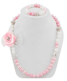 Daizy Adorable Bow Necklace & Bracelet Set - Pink & White