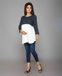 Mama & Bebe Maternity Polka Top - Navy & Cream