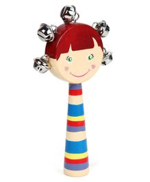 Alpaks Girl Shaped Gungroo Rattle Toy (Print & Color May Vary)