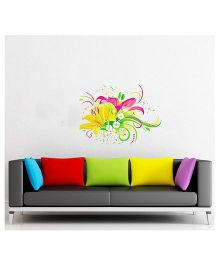 Orka Digital Printed Bunch of Flowers Design Wall Sticker - Multi Colour