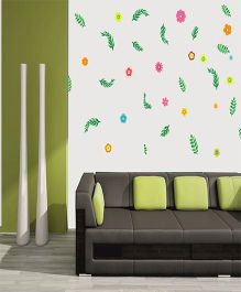 Orka Digital Printed Flowers And Leaves Design Wall Sticker - Pink