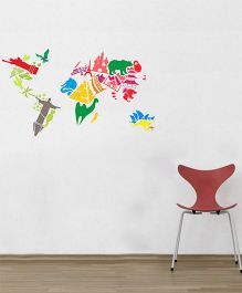 Orka Digital Printed 7 Wonders of World Design Wall Sticker - Multi Colour