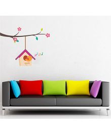 Orka Digital Printed Singing Bird Design Wall Sticker - Multi Colour