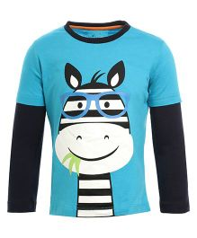 Lazy Shark Cartoon Printed Full Sleeve Tee - Blue