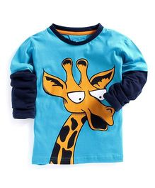 Lazy Shark Giraffe Printed Full Sleeve Tee - Blue