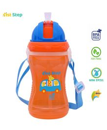 1st Step Sport Straw Sipper Bottle Giraffe Print Orange - 360 ml