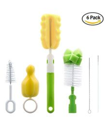 Syga Bottle Cleaning And Sterilisation Set Pack of 6 - Green Yellow