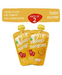 Happa Organic Apple & Mango Fruit Puree Baby food Pack of 2 - 100 gm Each