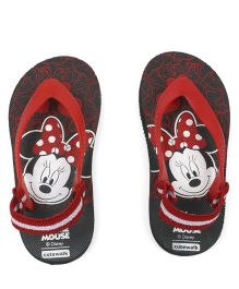 63f3cc3ade729 Cute Walk by Babyhug Flip Flops With Back Strap Minnie Mouse Print - Black    Red