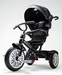 Bentley Tricycle With Canopy & & Parent Push Handle - Onyx Black