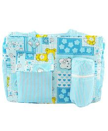 Ole Baby Multi Utility Diaper Bag Heart Print - Sky Blue