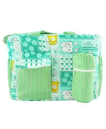 Ole Baby Multi Utility Diaper Bag Heart Print - Green