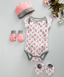 Babyoye Short Sleeves Onesie With Cap Gloves & Mittens Floral Print - White Peach