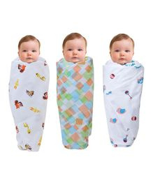 Wonder Wee Mulmul Cotton Swaddle Blanket Animal & Bird Print Pack Of 3 - White & Multicolor