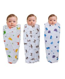 Wonder Wee Printed Mulmul Cotton Swaddle Blanket Pack Of 3 - White & Multicolor