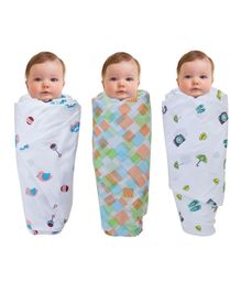 Wonder Wee Mulmul Cotton Swaddle Blanket Bird Pack Of 3 - White & Multicolor