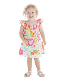 Masala Baby Flutter Dress Floral Print - Multicolor