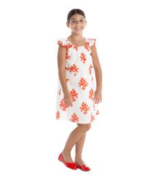 Masala Baby Flutter Sleeves Lined Dress Jardin Print - Coral
